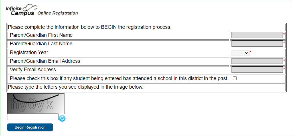 Online Registration Begin Registration