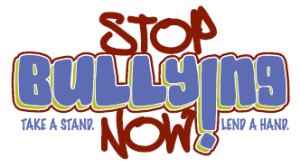 "Text graphic that says, ""Stop Bullying Now! Take a stand. Lend a hand."""