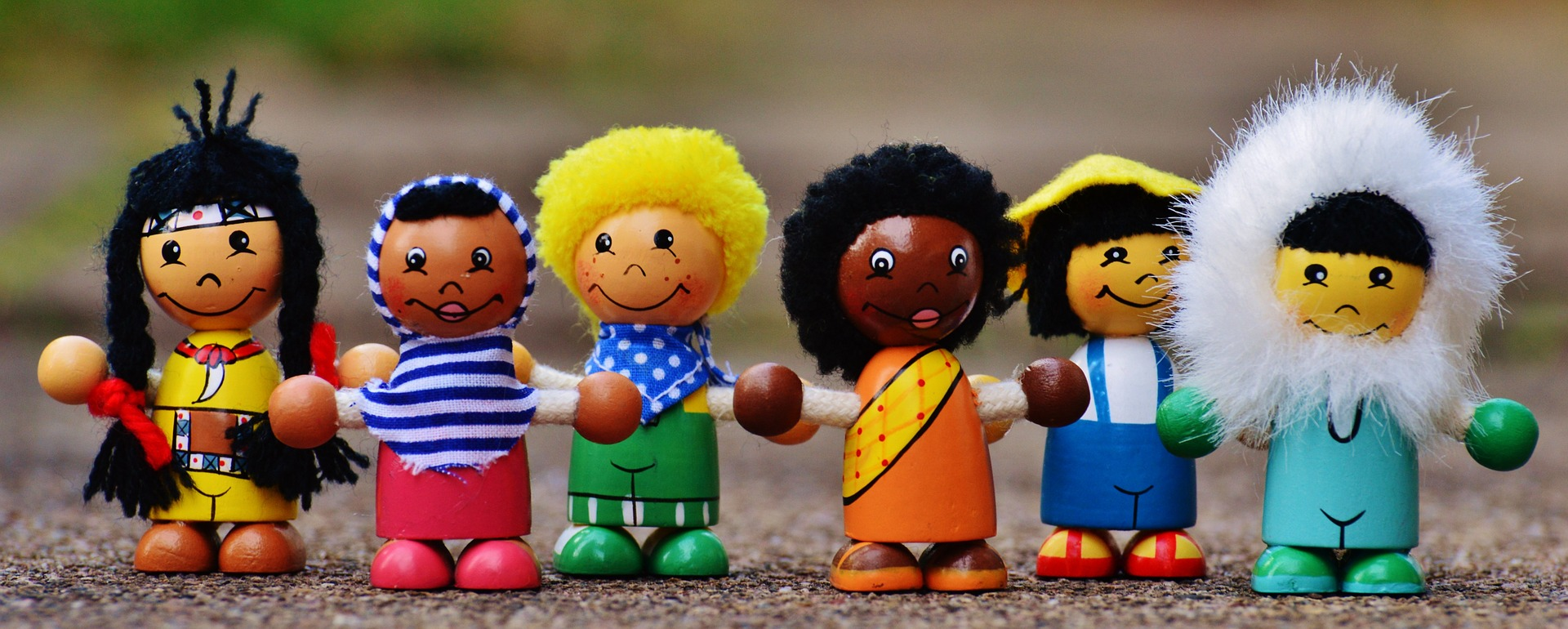 Different nationalities little play figures