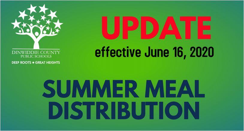UPDATE: Effective June 16, 2020. SUMMER MEAL DISTRIBUTION
