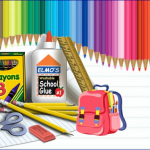 Picture of various school supplies