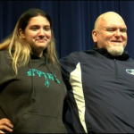 Cheyenne Wray with Coach Mills