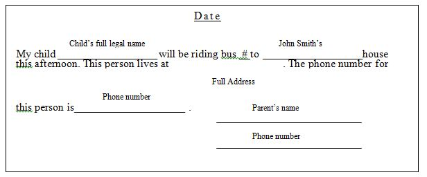 Example parent change of bus slip