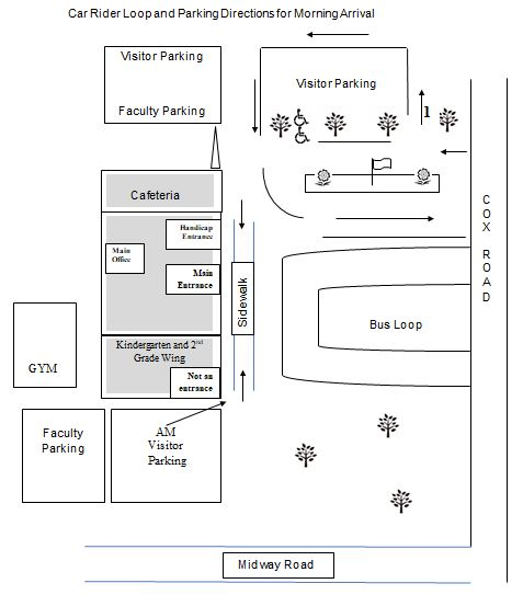 Car-Rider Loop and Parking Directions for Morning Arrival Diagram