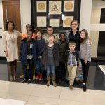 Southside Students with Mrs. Mickens and Mrs. Adkins pose for picture at School Board Office