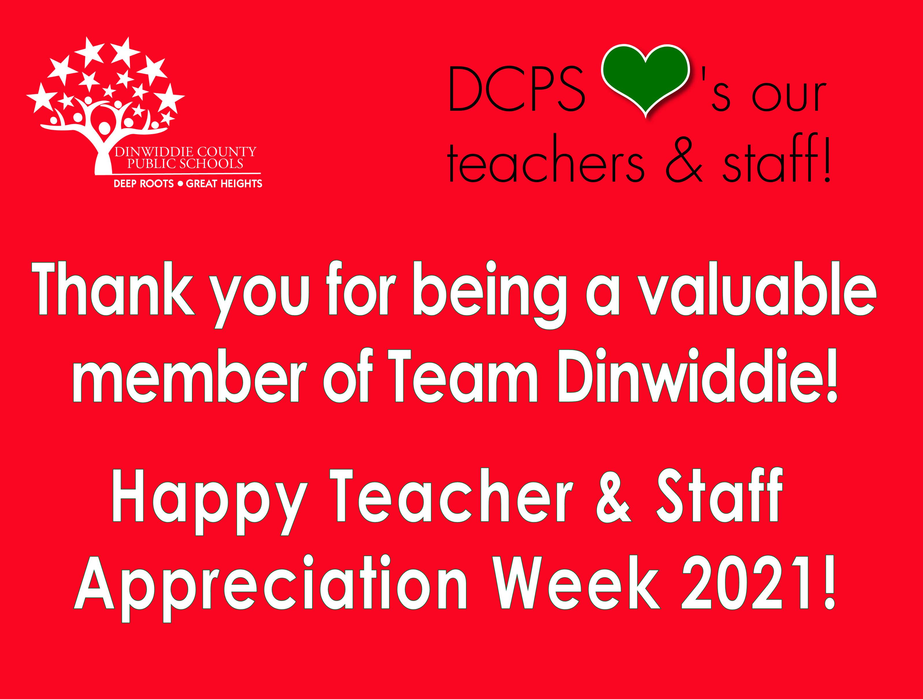 Teacher and Staff Appreciation Week 2021